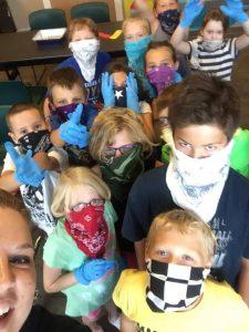 Kids masked with bandanna
