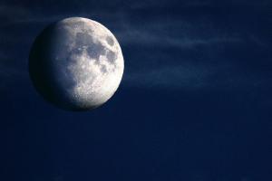 dark night sky with bright moon