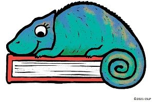 graphic of chameleon on a book